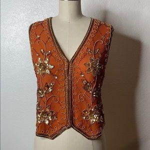 Vintage Gold Tone Sequin Vest M